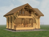 Рубленая деревянная баня с гостевым этажом 115м2