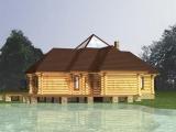 """Рубленая деревянная баня с бильярдной """"Хельга"""" 110м2"""