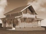 Рубленый деревянный дом, проект деревянного дома 160 м2